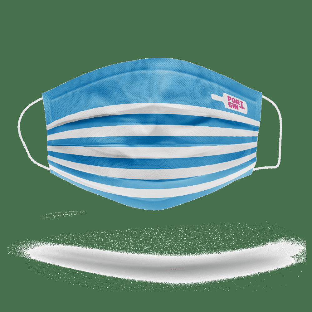 """Frontale Seite Portgin Mund-Nasen-Maske """"Matrose"""", blau weiß gestreift"""