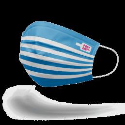 """Linke Seite Portgin Mund-Nasen-Maske """"Matrose"""", blau weiß gestreift"""