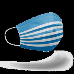 """Rechte Seite Portgin Mund-Nasen-Maske """"Matrose"""", blau weiß gestreift"""